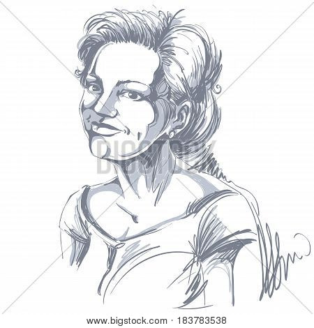 Vector drawing of smiling pleased woman with stylish haircut. Black and white portrait of attractive happy lady.