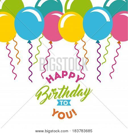 birthday celebration with balloons air party vector illustration design