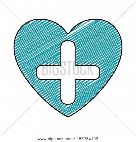color pencil drawing of heart with cross inside vector illustration