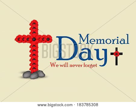 Illustration of cross with memorial day text