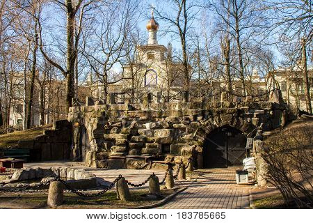 St. Petersburg-30.04.2017: Grotto made of natural stone made under the cafe