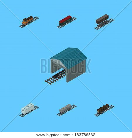 Isometric Train Set Of Railroad Carriage, Delivery Tank, Lumber Shipping And Other Vector Objects. Also Includes Petroleum, Railway, Lumber Elements.