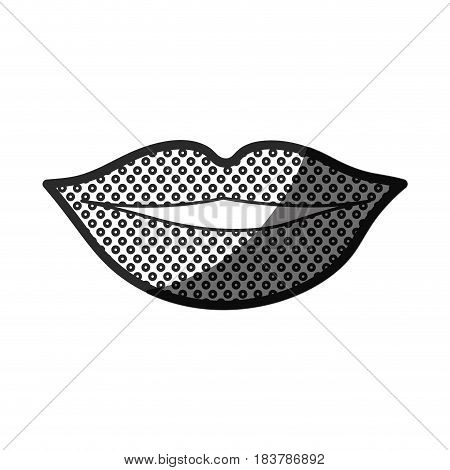 monochrome silhouette of lips with contour dotted vector illustration