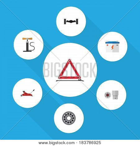 Flat Service Set Of Warning, Brake Disk, Turnscrew And Other Vector Objects. Also Includes Bearing, Automobile, Screwdriver Elements.