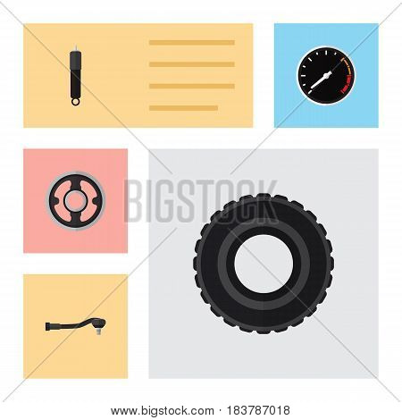 Flat Component Set Of Belt, Tachometr, Combustion And Other Vector Objects. Also Includes Car, Engine, Spherical Elements.