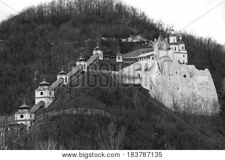SVYATOGORSK, UKRAINE - APRIL 10, 2011: These are the gallery and the upper temple on the chalk cliff of the Holy Assumption Svyatogorsk Lauvra.