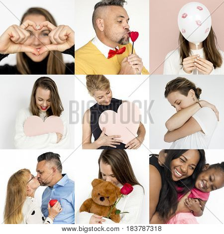 Collages diverse people love affection care
