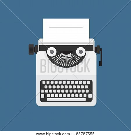 Typewriter and White Paper Illustration. Flat Typewriter and White Paper Vector