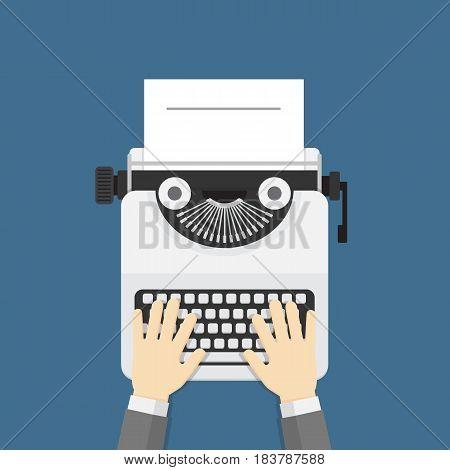 Hands writing on old typewriter. Flat design of hand and white typewriter