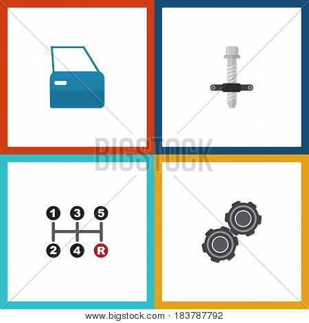Flat Service Set Of Muffler, Belt, Automobile Part And Other Vector Objects. Also Includes Automobile, Manual, Door Elements.