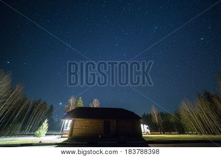 Blue Dark Night Sky With Many Stars.