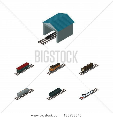 Isometric Railway Set Of Oil Wagon, Depot, Train And Other Vector Objects. Also Includes Depot, Passenger, Wagon Elements.