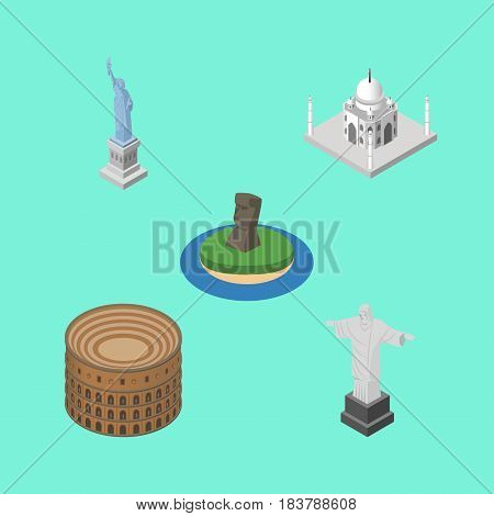 Isometric Architecture Set Of New York, Rio, Coliseum And Other Vector Objects. Also Includes Mosque, Chile, America Elements.