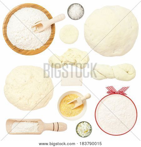 Flour and Dough Set Isolated on White Background. You get: flour bowls different types of dough flour scoop yeast salt corn flour.