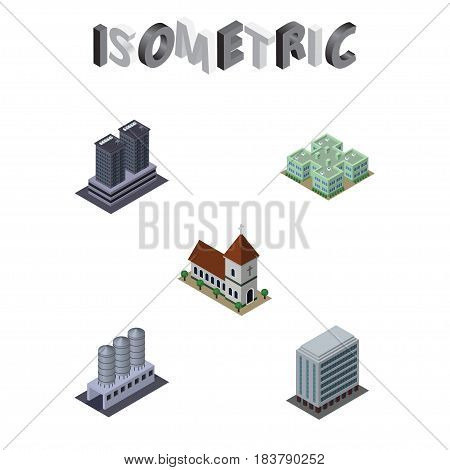 Isometric Urban Set Of Office, Clinic, Tower And Other Vector Objects. Also Includes Tower, Storage, Clinic Elements.