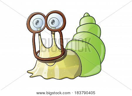 Cute sticky smiling snail wearing weird goggles