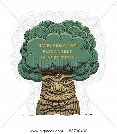 Happy Arbor Day! Plant a tree or even three. Vector illustration for a holiday. Symbol of arboriculture, forests, agriculture. Space for text