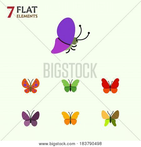 Flat Monarch Set Of Summer Insect, Beauty Fly, Milkweed And Other Vector Objects. Also Includes Butterfly, Monarch, Moth Elements.