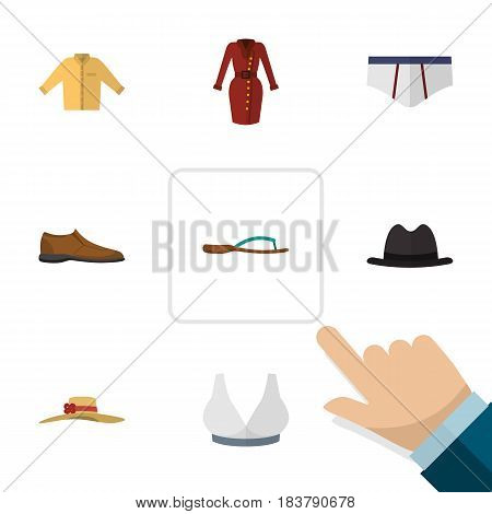 Flat Dress Set Of Male Footware, Banyan, Clothes And Other Vector Objects. Also Includes Woman, Man, Sport Elements.