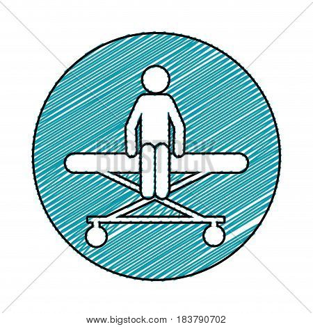 color pencil drawing circular frame of pictogram patient sit in stretcher clinical vector illustration