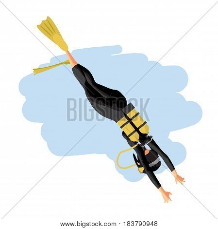 A young woman in diving suit snorkeling. Back view. Vector flat cartoon illustration on a isolated background