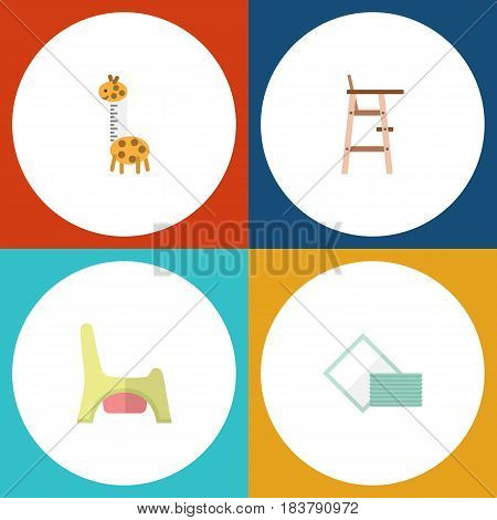 Flat Baby Set Of Child Chair, Toilet, Napkin And Other Vector Objects. Also Includes Child, Tissue, Napkin Elements.