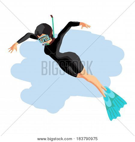 A young woman in diving suit snorkeling. Vector flat cartoon illustration on a isolated background
