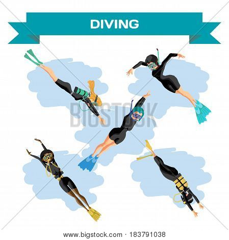 Set of young women in diving suit snorkeling. Girls swim under the water. Vector flat cartoon illustration on a isolated background