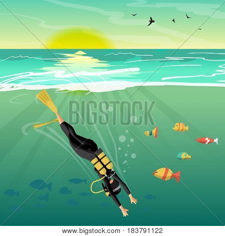 Young woman scuba diver dives under the sea into the sea at sunset. Vector flat cartoon illustration