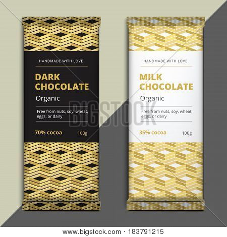 Organic Dark And Milk Chocolate Bar Design. Choco Packaging Vector Mockup. Trendy Luxury Product Bra