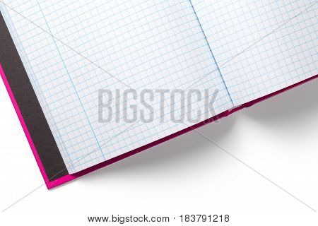 Opened notebook isolated on white background. Copy space. Top view