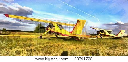 Colorful painting of light aircraft plane parked at a grass airfield