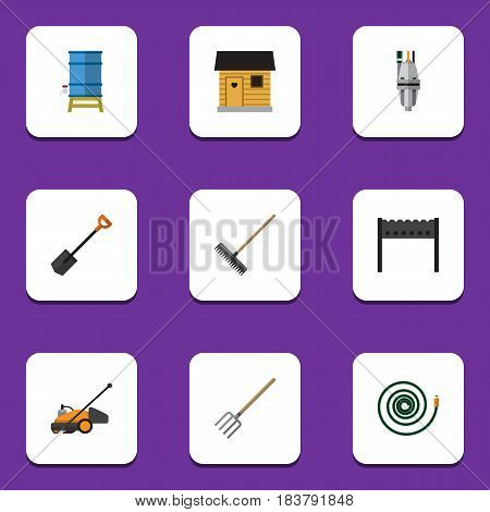 Flat Garden Set Of Pump, Hay Fork, Barbecue And Other Vector Objects. Also Includes Harrow, Farmhouse, Spade Elements.