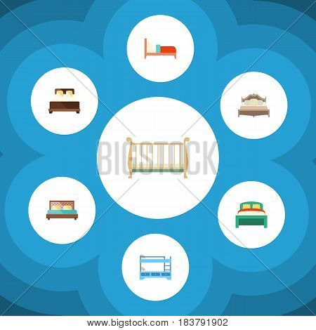 Flat Bedroom Set Of Bearings, Mattress, Bunk Bed And Other Vector Objects. Also Includes Bed, Mattress, Cot Elements.