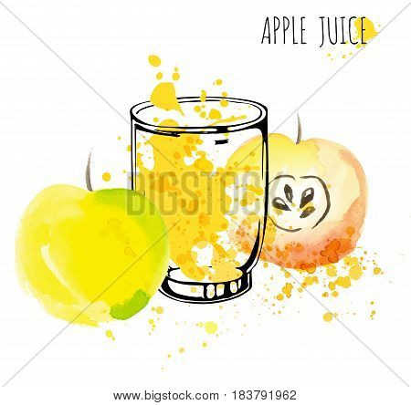 Apple juice vector illustration. Apples with splashes and glasses isolated on white background. Apple drink with fruits and fresh splashes. Healthy vector illustration about fresh drink with apple