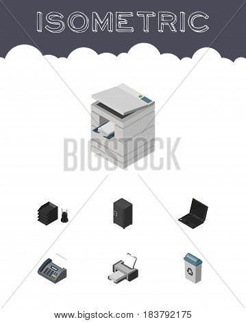 Isometric Work Set Of Office Phone, Strongbox, Laptop And Other Vector Objects. Also Includes Telefax, Junk, Strongbox Elements.