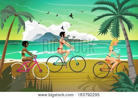 Young women rides bike on summer beach at sunset. Vector flat illustration