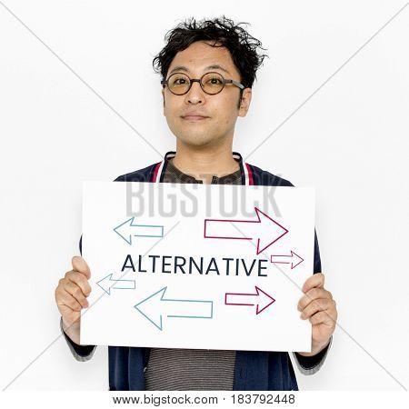 Man holding network graphic overlay billboard