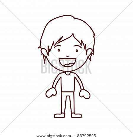 brown color contour of smiling boy standing with short hair and informal clothes vector illustration