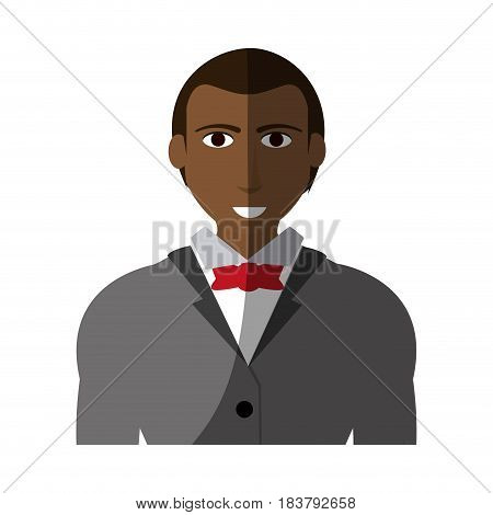 handsome dark skin man with muscular body wearing suit icon image vector illustration design