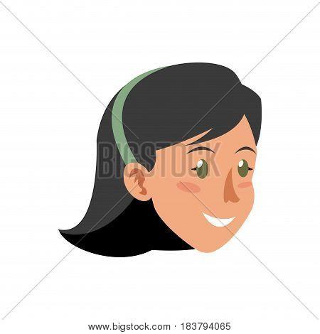 face woman head smile short hair diadem vector illustration