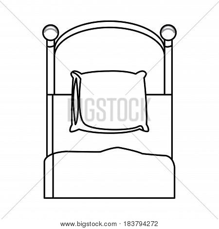 single bed wooden pillow bedding outline vector illustration