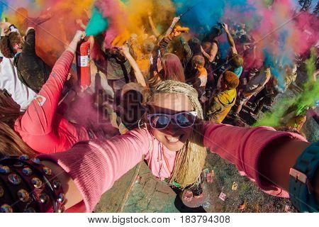Festival Of Colors. Selfie.
