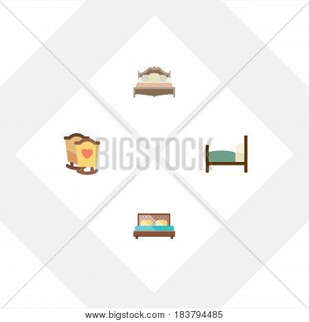 Flat Bedroom Set Of Hostel, Bed, Crib And Other Vector Objects. Also Includes Bedroom, Crib, Cot Elements.