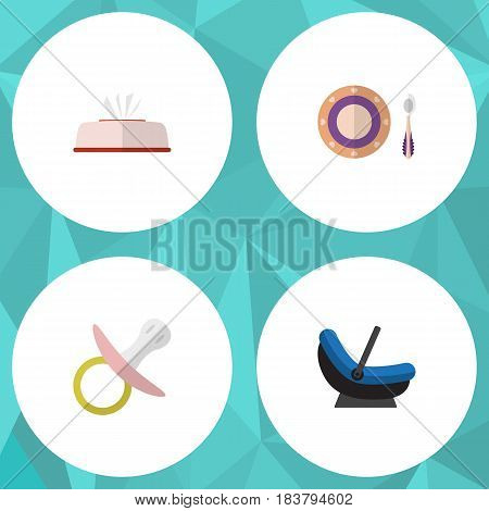 Flat Child Set Of Pram, Tissue, Baby Plate And Other Vector Objects. Also Includes Box, Napkin, Nipple Elements.