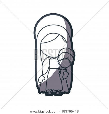 grayscale silhouette of faceless image of saint virgin mary with baby jesus vector illustration