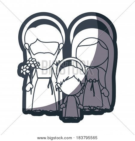 grayscale silhouette of faceless image of sacred family with baby jesus vector illustration