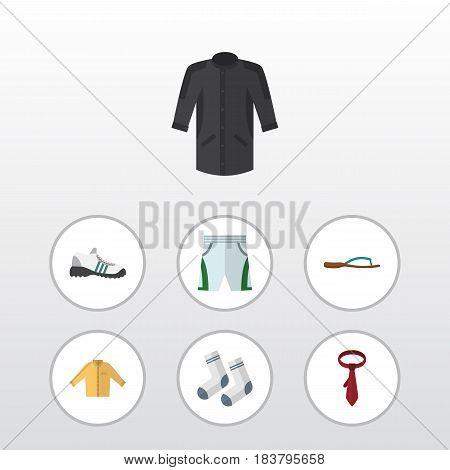 Flat Dress Set Of Banyan, Cravat, Trunks Cloth And Other Vector Objects. Also Includes Cravat, Cloth, Uniform Elements.