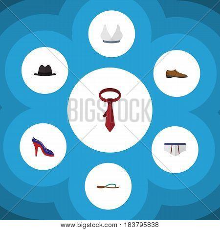 Flat Garment Set Of Cravat, Beach Sandal, Male Footware Vector Objects. Also Includes Cravat, Sport, Heeled Elements.