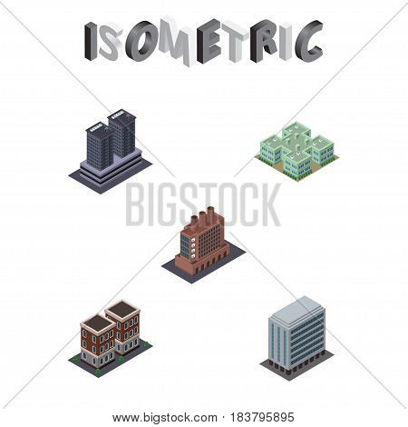 Isometric Architecture Set Of House, Clinic, Tower And Other Vector Objects. Also Includes Hospital, Industry, Factory Elements.